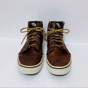 Vans Off The Wall Brown Leather High Top Sneakers